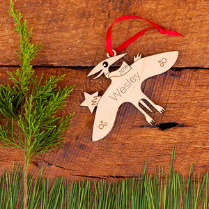 Handmade original pterodactyl dinosaur Christmas ornament personalized in choice of wood & engraved by Graphic Spaces