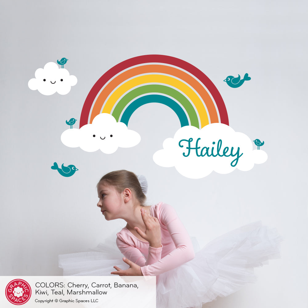 ... Happy Rainbow Wall Decal Personalized Name ...