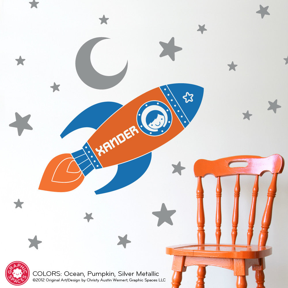 Rocket Boy Wall Decal  sc 1 th 225 & Baby Nursery Wall Decals Wooden Ornaments Animal Bookends Clocks