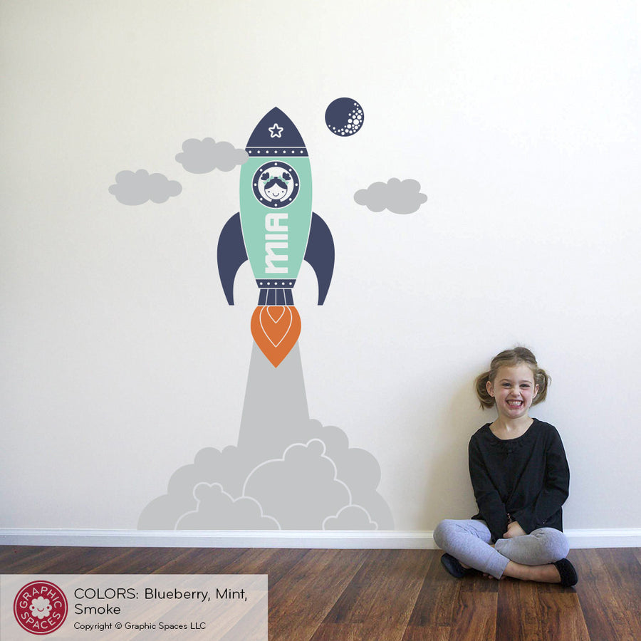 Rocket Launch Girl Wall Decal