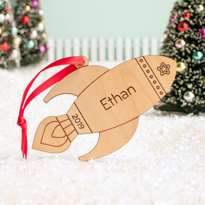 space rocket christmas ornament personalized