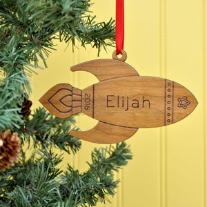 rocket christmas ornament personalized