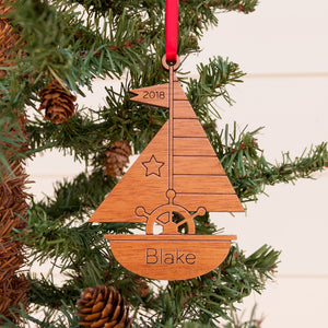 Sailboat Wooden Christmas Ornament