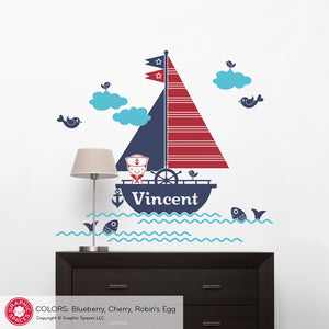 Sailboat Boy Wall Decal