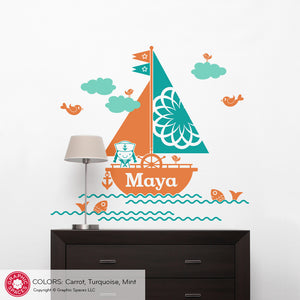 Sailboat Girl Wall Decal