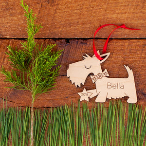 Handmade Scottie Dog, Scottish Terrier Puppy Christmas ornament personalized in choice of wood & engraved by Graphic Spaces