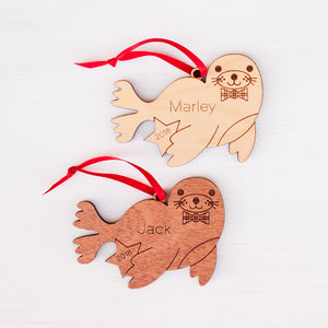 Handmade original ocean Harbor Seal Christmas ornament personalized in choice of wood & engraved by Graphic Spaces
