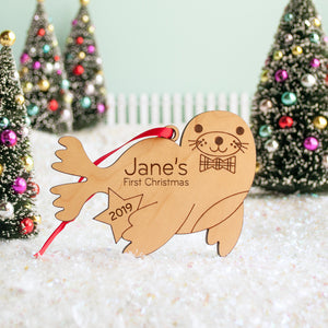 Seal christmas ornament personalized