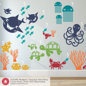 Sea Turtle Family Wall Decals