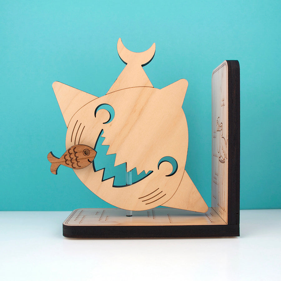 Wooden Shark Bookend for ocean nursery decor handmade by Graphic Spaces