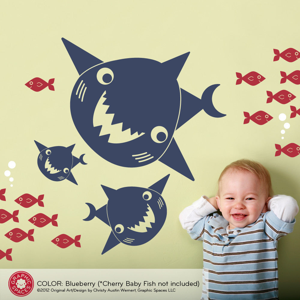 Happy Shark Family Wall Decals - Graphic Spaces