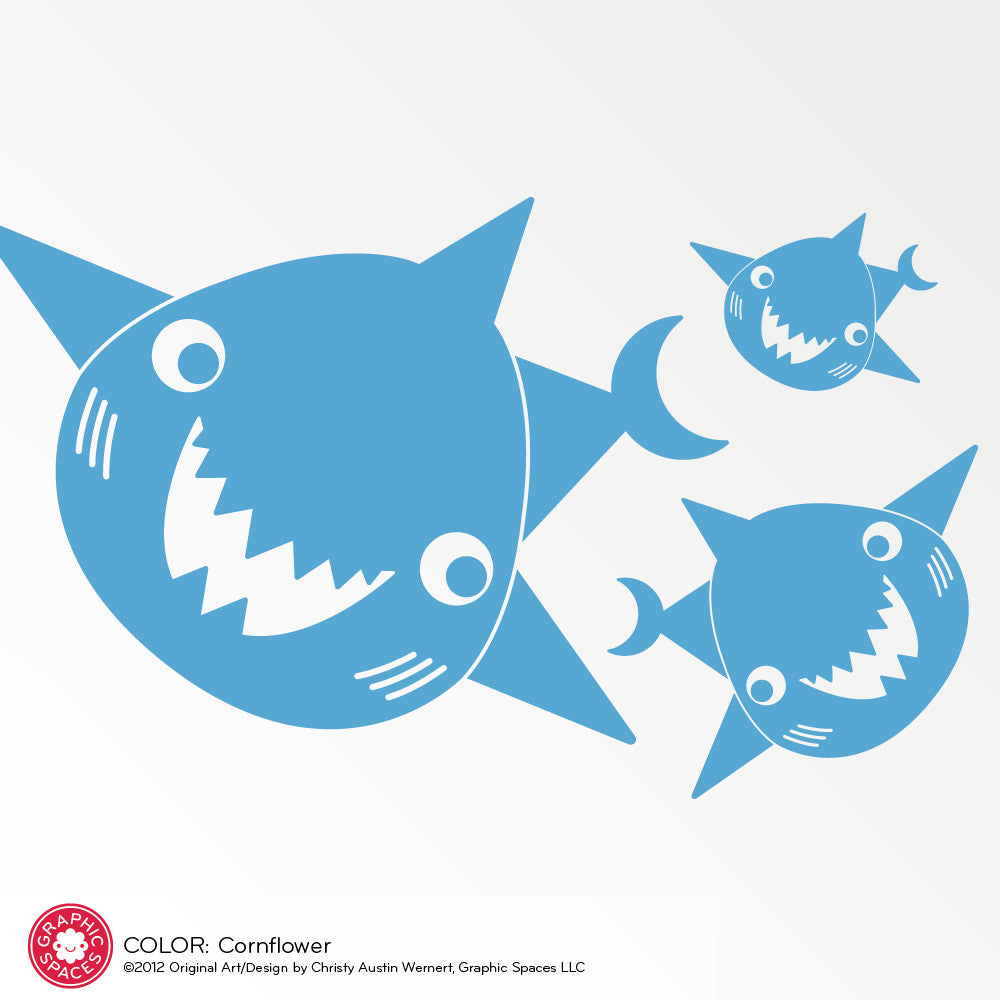 Happy Shark Family Wall Decals