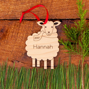 Handmade original farm animal sheep Christmas ornament personalized in choice of wood & engraved by Graphic Spaces