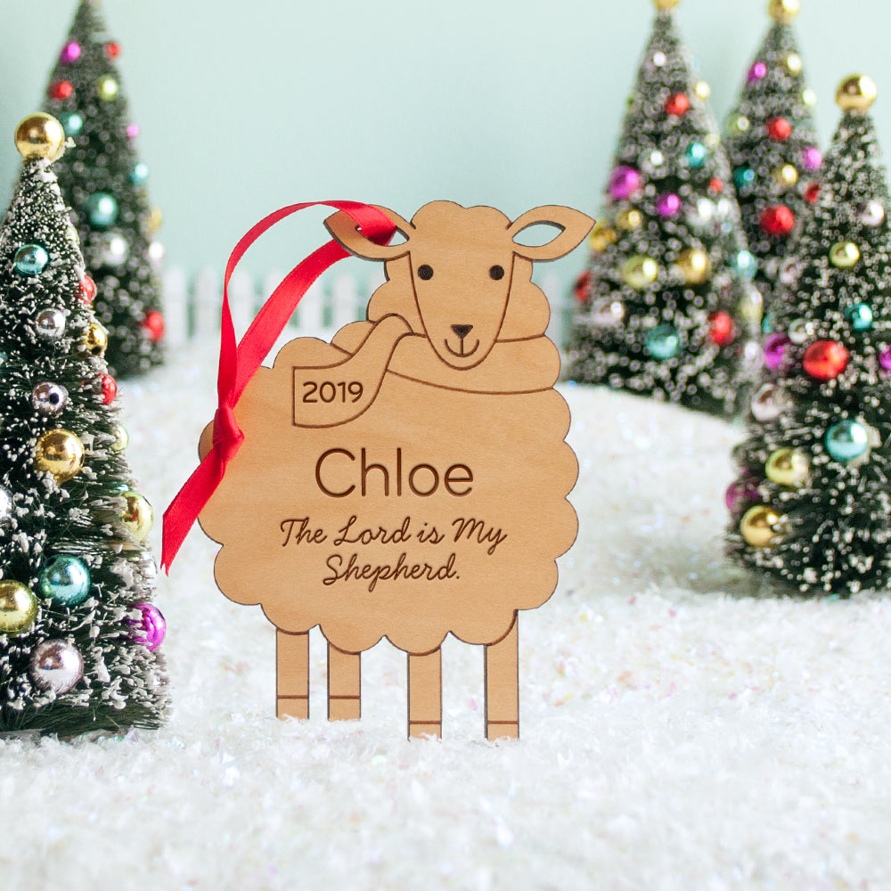 Sheep Wooden Christian Ornament: The Lord is My Shepherd