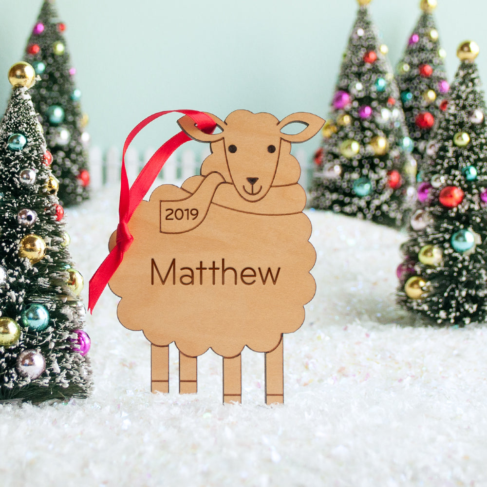 sheep christian christmas ornament personalized farm animal