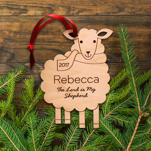Christian sheep christmas ornament personalized