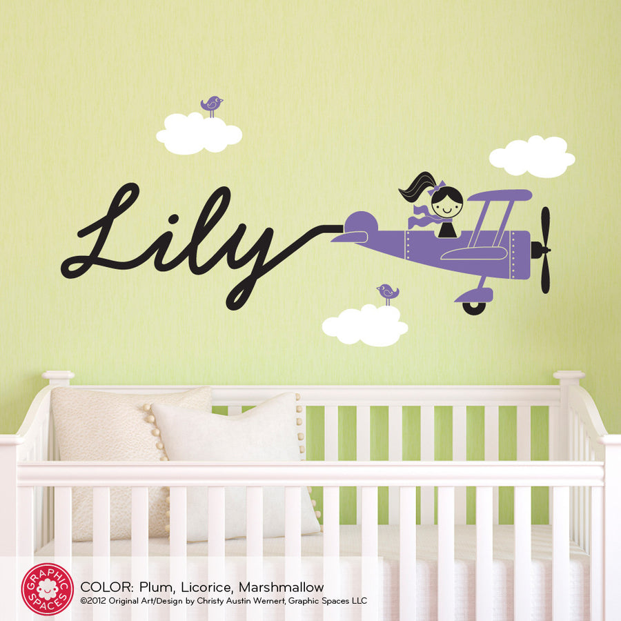 Airplane Wall Decal, Skywriter Girl Name