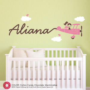 Airplane Skywriter Girl Wall Decal