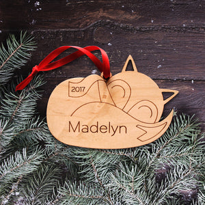 sleeping fox christmas ornament personalized