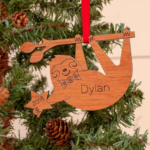 Handmade original sloth animal Christmas ornament personalized in choice of wood & engraved by Graphic Spaces