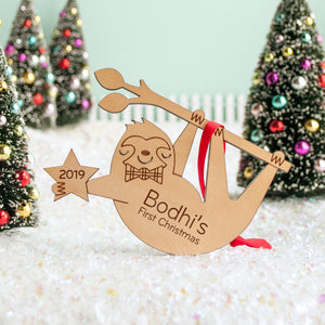 sloth christmas ornament personalized