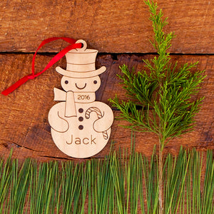 wood snowman boy christmas ornament personalized