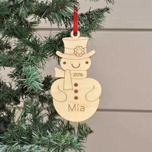 Handmade original classic snowman Christmas ornament personalized in choice of wood & engraved by Graphic Spaces