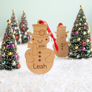 wood snowman christmas ornament personalized