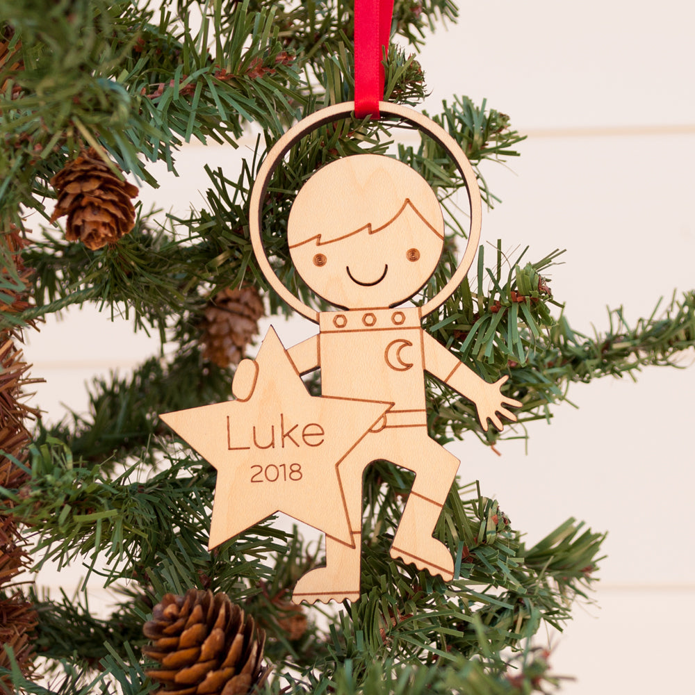 Astronaut Boy Wood Christmas Ornament Personalized Graphic Spaces