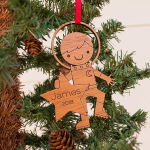 outer space astronaut christmas ornament personalized