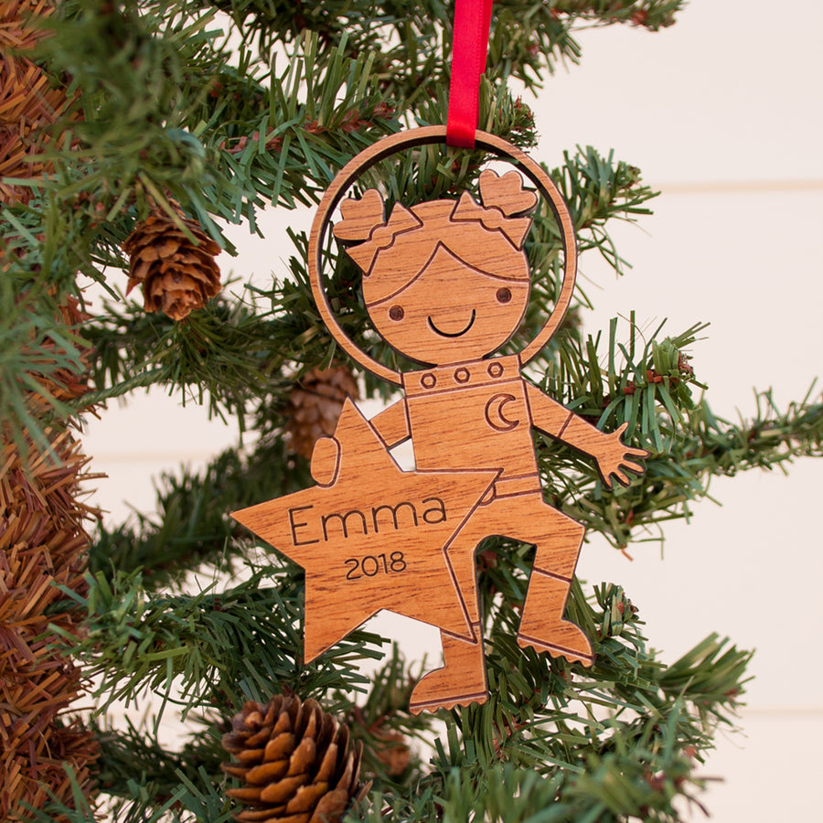 outer space astronaut girl christmas ornament personalized