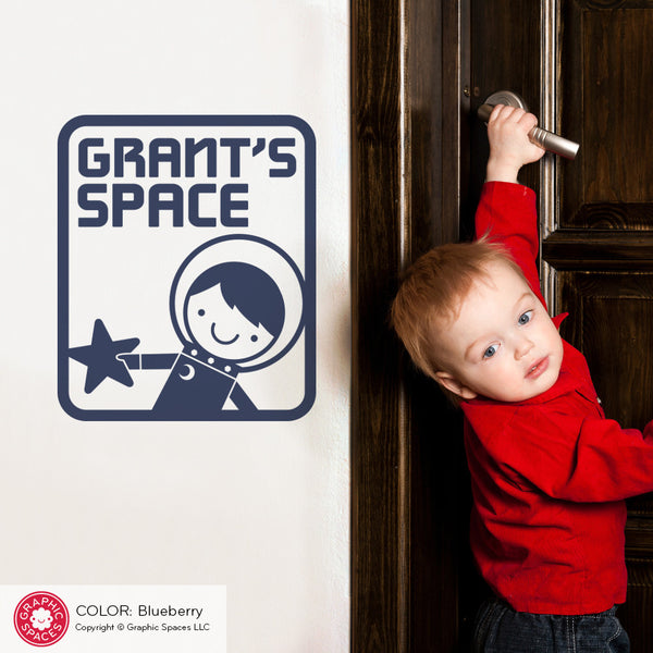 Space Boy Room Sign Wall Decal