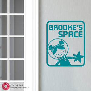 Space Girl Room Sign Wall Decal