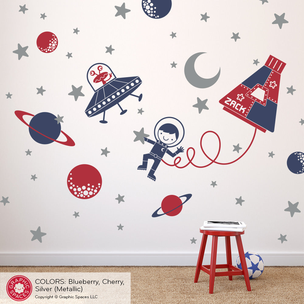Design Outer Space Wall Decals outer space rocket wall decals personalized boy girl baby names walk capsule decal