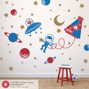 Outer Space Walk Boy Rocket Capsule Wall Decal