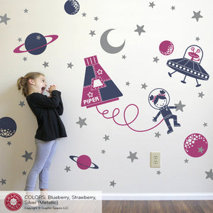 Space Walk Girl Wall Decal