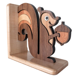 Squirrel Wooden Bookend for woodland animal nursery decor handmade by Graphic Spaces