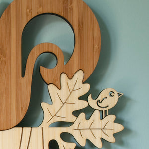 Woodland Friends Squirrel Bamboo Wall Clock handmade by Graphic Spaces