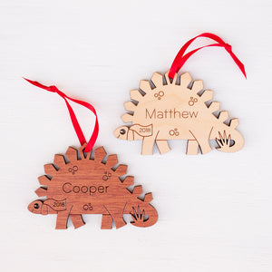 Stegosaurus Wooden Christmas Ornament