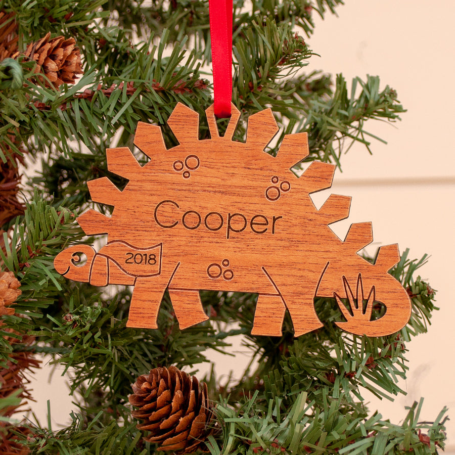 dinosaur christmas ornament personalized stegosaurus