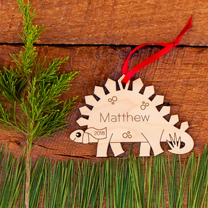 Handmade original stegosaurus dinosaur Christmas ornament personalized in choice of wood & engraved by Graphic Spaces