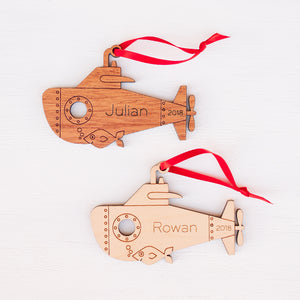submarine christmas ornament personalized