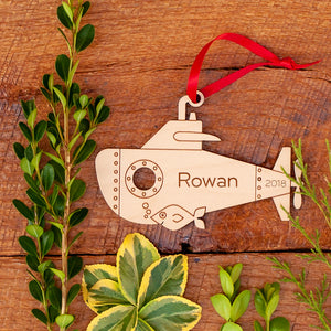 Handmade original ocean submarine Christmas ornament personalized in choice of wood & engraved by Graphic Spaces