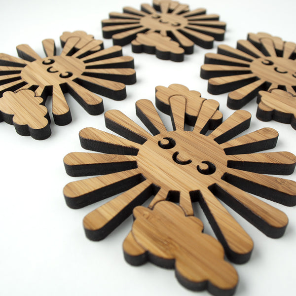 Happy Sun Bamboo Coasters
