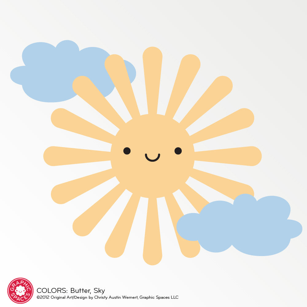 happy sun wall decal  graphic spaces -  sun wall decal