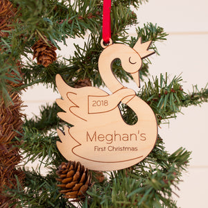 swan princess christmas ornament personalized