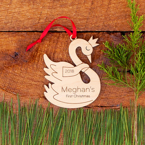 Handmade original swan princess fairy tale Christmas ornament personalized in choice of wood & engraved by Graphic Spaces