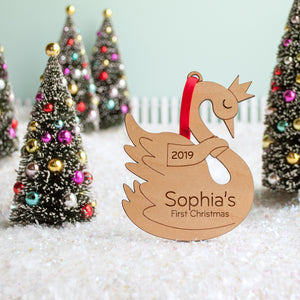 Swan Wooden Christmas Ornament