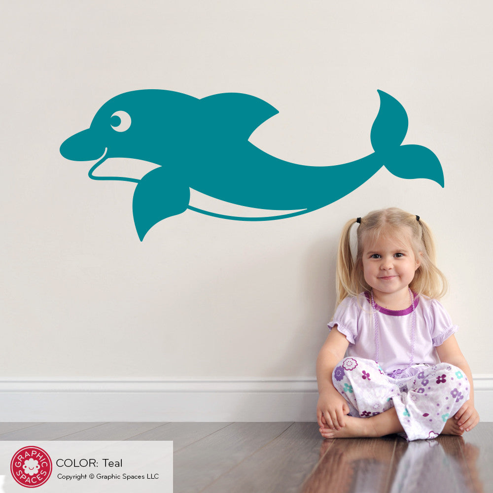 Dolphin wall decal swimming graphic spaces dolphin wall decal swimming amipublicfo Image collections