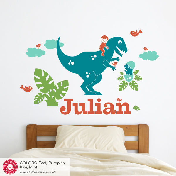 T-Rex Dinosaur Wall Decal with Name